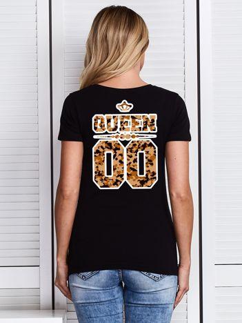 Czarny t-shirt damski z moro nadrukiem QUEEN dla par
