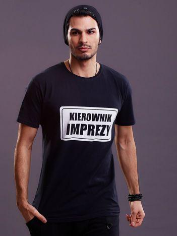 Czarny t-shirt męski KIEROWNIK IMPREZY
