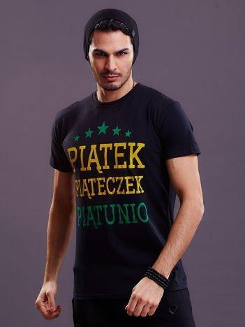 Czarny t-shirt męski PIĄTEK PIĄTECZEK