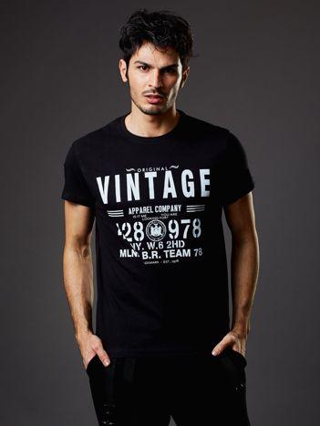 Czarny t-shirt męski Vintage