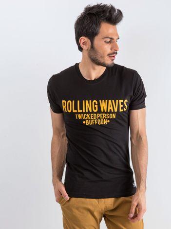 Czarny t-shirt męski Waves