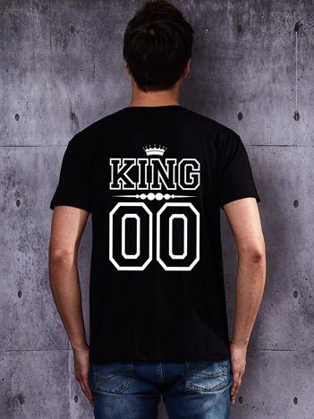 Czarny t-shirt męski z koroną KING z nadrukiem dla par