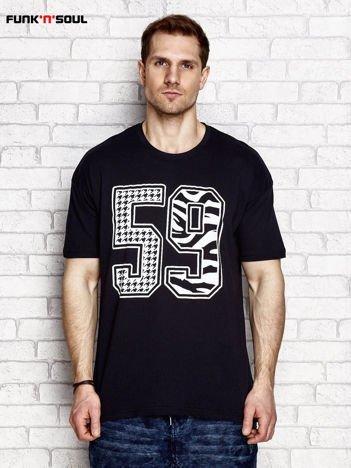 Czarny t-shirt męski z liczbą 59 FUNK N SOUL