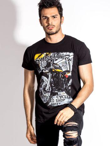 Czarny t-shirt męski z motocyklowym nadrukiem