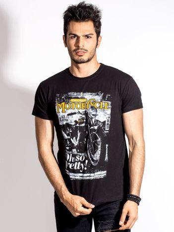 Czarny t-shirt męski z nadrukiem motocykla