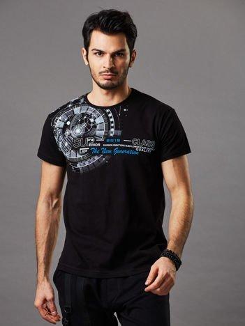 Czarny t-shirt męski z okrągłym printem