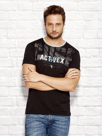 Czarny t-shirt męski z printem