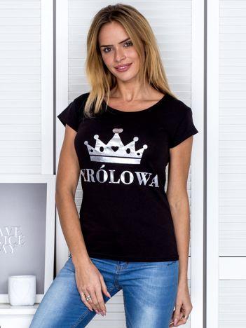 Czarny t-shirt z koroną