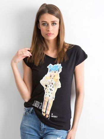 Czarny t-shirt z nadrukiem Lady Gaga Funk n Soul