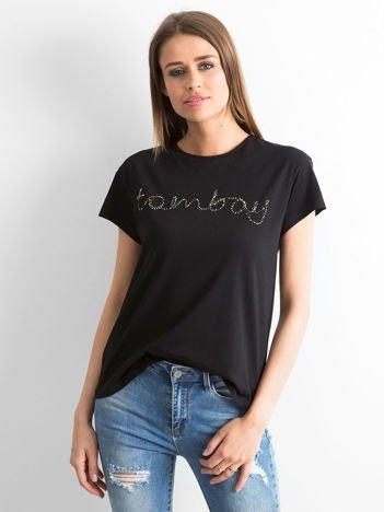 Czarny t-shirt  z napisem z koralików