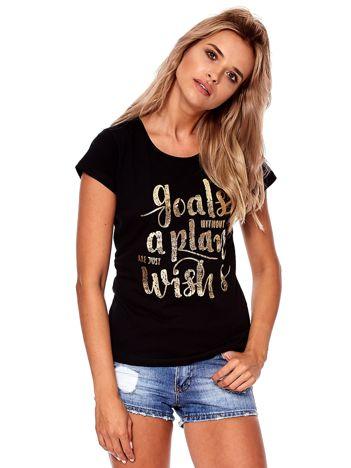 Czarny t-shirt ze złotym napisem