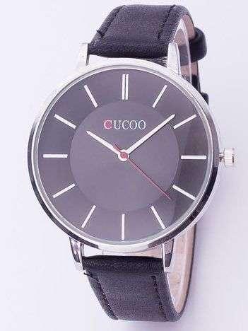 Czarny zegarek damski z dużą tarczą