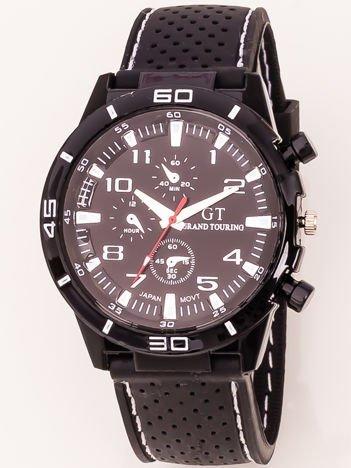 Czarny zegarek męski z białymi dodatkami