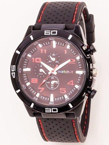 Czarny zegarek męski z czerwonymi dodatkami