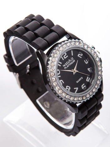 Czarny zegarek silikonowy damski