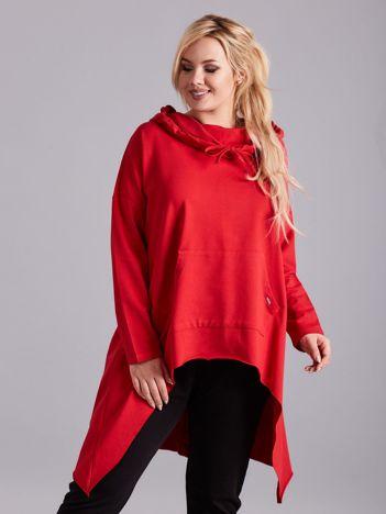 Czerwona asymetryczna bluza PLUS SIZE