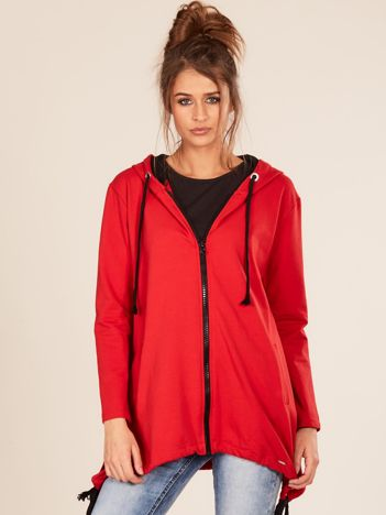 Czerwona asymetryczna bluza z kapturem