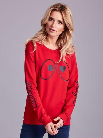 Czerwona bawełniana bluza z nadrukiem