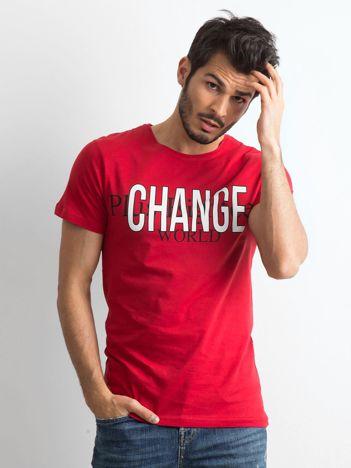 Czerwona bawełniana koszulka męska z nadrukiem