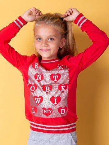 Czerwona bluza dla dziewczynki z nadrukiem i perełkami