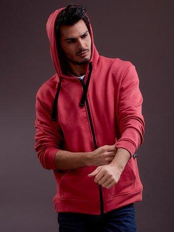 Czerwona bluza męska z kapturem i troczkami