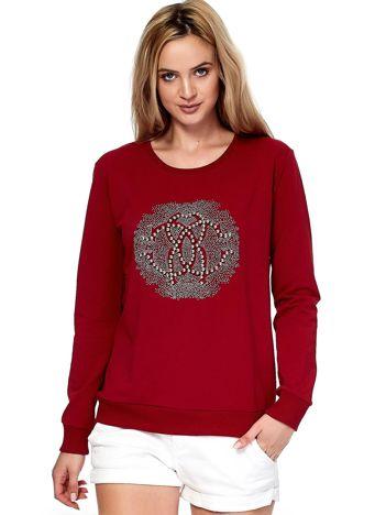 Czerwona bluza z perełkami i dżetami