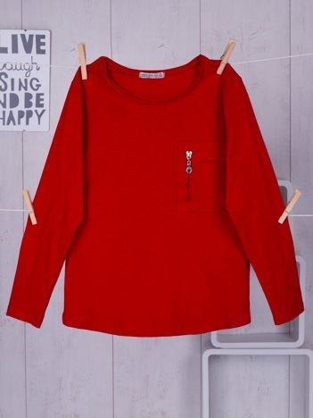 Czerwona bluzka dziecięca z kieszonką na suwak