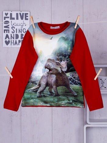 Czerwona bluzka dziecięca z nadrukiem dinozaura