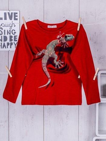 Czerwona bluzka dziecięca z nadrukiem kolorowej jaszczurki