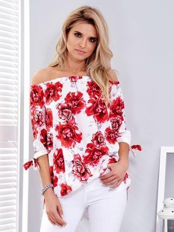 Czerwona bluzka hiszpańska w kwiaty