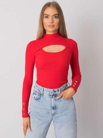 Czerwona bluzka z wycięciem Attale