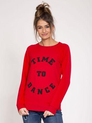 Czerwona dresowa bluza z bawełny z napisem
