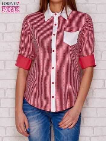 Czerwona koszula w paski i wzory z kieszonką