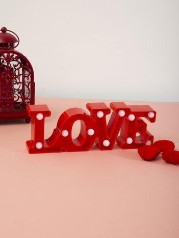 Czerwona lampka LED napis LOVE biurkowa