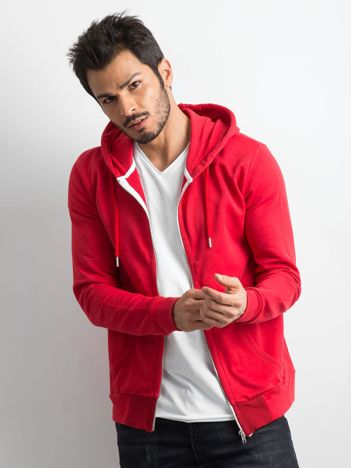 Czerwona męska bluza z kapturem