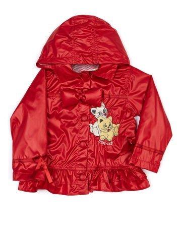 Czerwona ortalionowa kurtka dziewczęca z naszywką i odpinanym kapturem