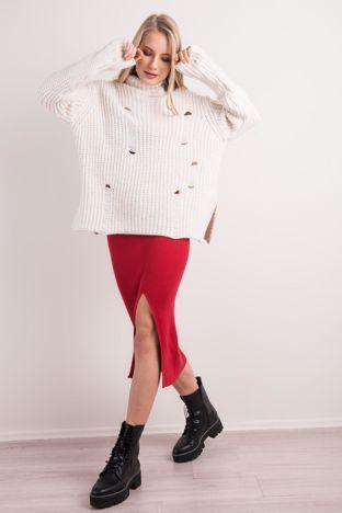 Czerwona spódnica z rozcięciem BSL