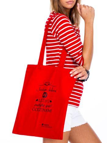 Czerwona torba materiałowa JESTEM DOBRA W ŁÓŻKU