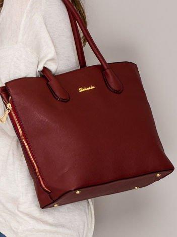 Czerwona torba shopper bag ze złotymi suwakami