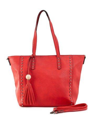 Czerwona torba shopperka z ekoskóry