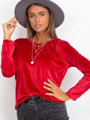 Czerwona welurowa bluza damska