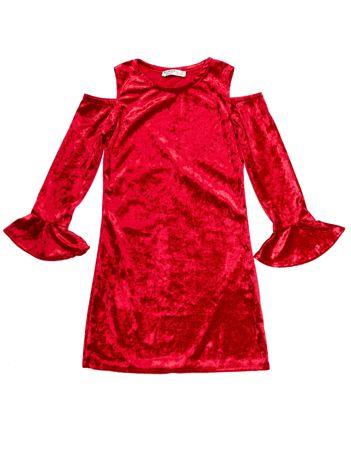 Czerwona welurowa sukienka dziewczęca z wycięciami na ramionach