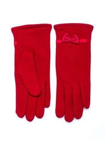 Czerwone ciepłe rękawiczki damskie z kokardą