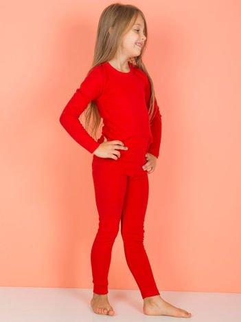 Czerwone gładkie legginsy dla dziewczynki