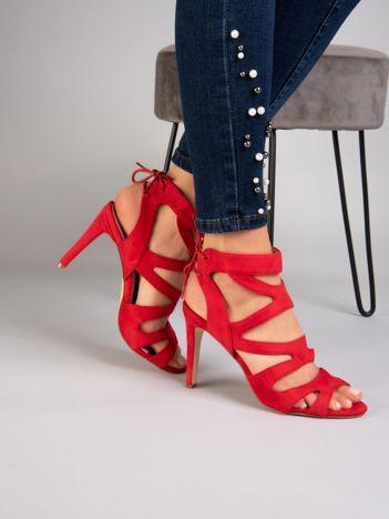 Czerwone sandały SABATINA na szpilkach