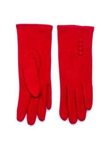 Czerwone zimowe rękawiczki damskie z guzikami