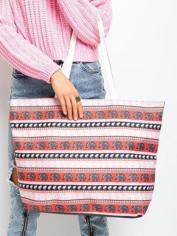 Czerwono-czarna torba shopper