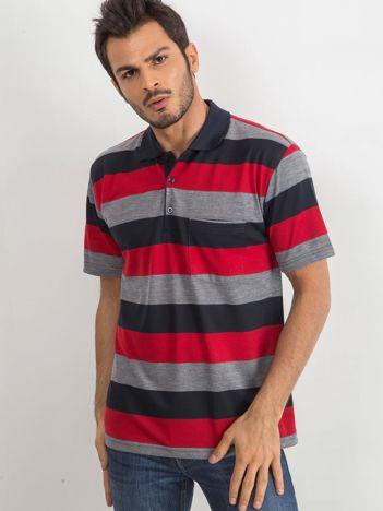 Czerwono-granatowa koszulka polo męska Colucci
