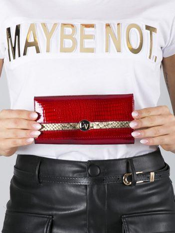 Czerwono-złoty lakierowany portfel skórzany