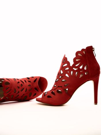 Czerwony ażurowe sandały SABATINA na szpilkach
